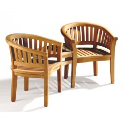 Garden Teak Companion Seat - Jack and Jill Bench