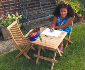 Ashdown Childrens Garden Table and Chairs Set - Teak Outdoor Patio 2 Seat Dining Set - Square Table