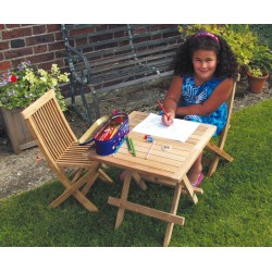 Ashdown Childrens Garden Table and Chairs Set - Teak Outdoor Patio 2 Seat Dining Set