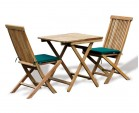 Rimini Teak Outdoor Garden Table and 2 Chairs - Patio Dining Set