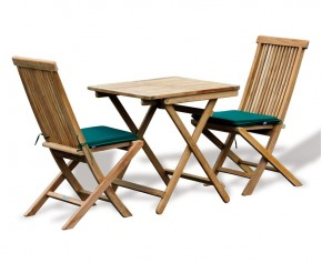 Rimini Teak Outdoor Garden Table and 2 Chairs - Patio Dining Set - Folding Chairs