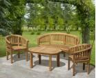Wimbledon Banana Bench, Coffee Table & Armchairs Set