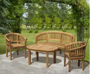 Modern Teak Banana Bench, Table and Chairs Set - Coffee Table