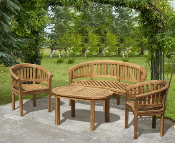 Modern Teak Banana Bench, Table and Chairs Set