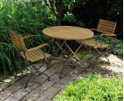Garden Bistro Table and 2 Arm Chairs - Outdoor Patio Bistro Dining Set