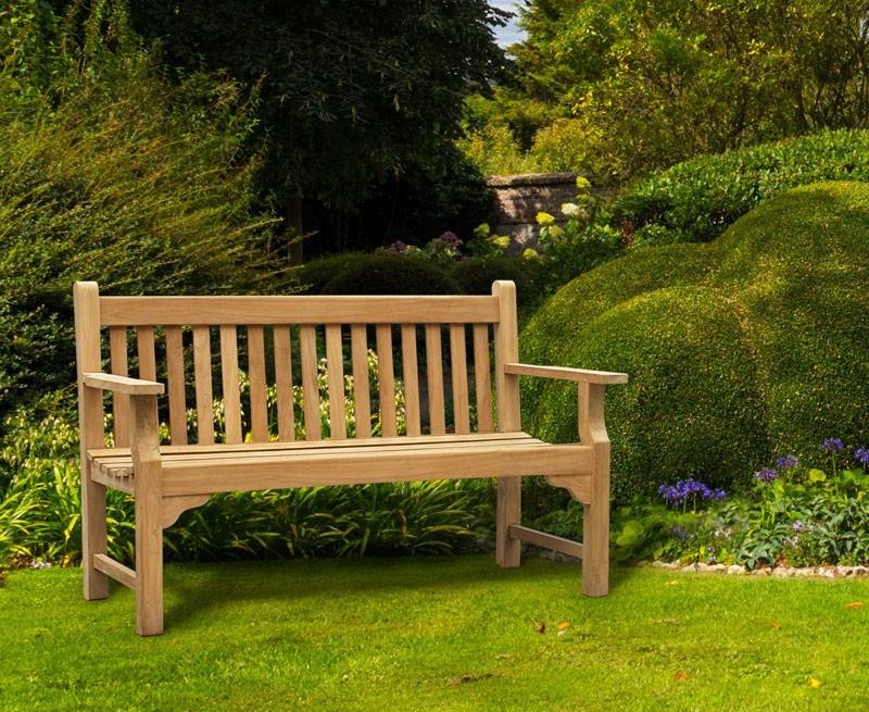 Taverners Teak 3 Seater Garden Bench Wooden Park Bench