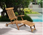 Halo Teak Steamer Chair with Free Cushion, Wheels & Brass Fittings