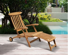 Halo Teak Steamer Chair with Free Cushion, Wheels & Brass Fittings - Folding Sun Loungers