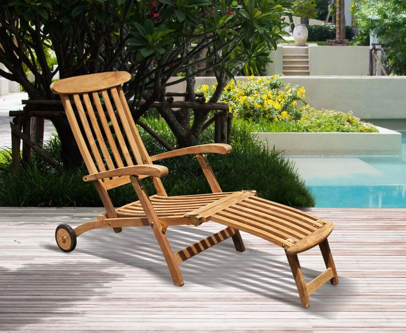 halo teak steamer chair with cushion wheels brass fittings. Black Bedroom Furniture Sets. Home Design Ideas
