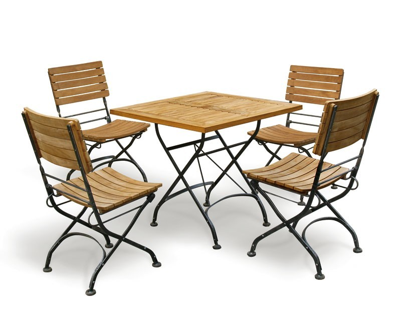 Bistro square table and 4 chairs patio garden bistro for Outside table and chairs