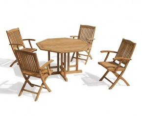 Berrington Teak Octagonal Gateleg Table and Bali Arm Chairs - Armchairs