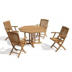 Berrington Teak Octagonal Gateleg Table and Bali Arm Chairs