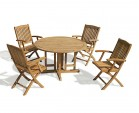 Berrington Drop Leaf Round Garden Table and Arm Chairs - Patio Outdoor 4 Seater Dining Set