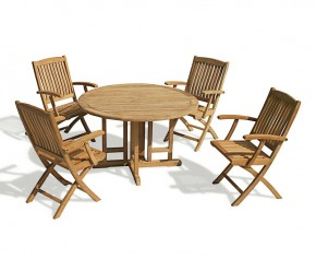 Berrington Drop Leaf Round Garden Table and Arm Chairs - Patio Outdoor 4 Seater Dining Set - Folding Table