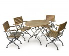 Garden Round Bistro Table and 4 Arm Chairs - Patio Outdoor Bistro Dining Set