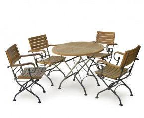 Garden Round Bistro Table and 4 Arm Chairs - Patio Outdoor Bistro Dining Set - Folding Chairs