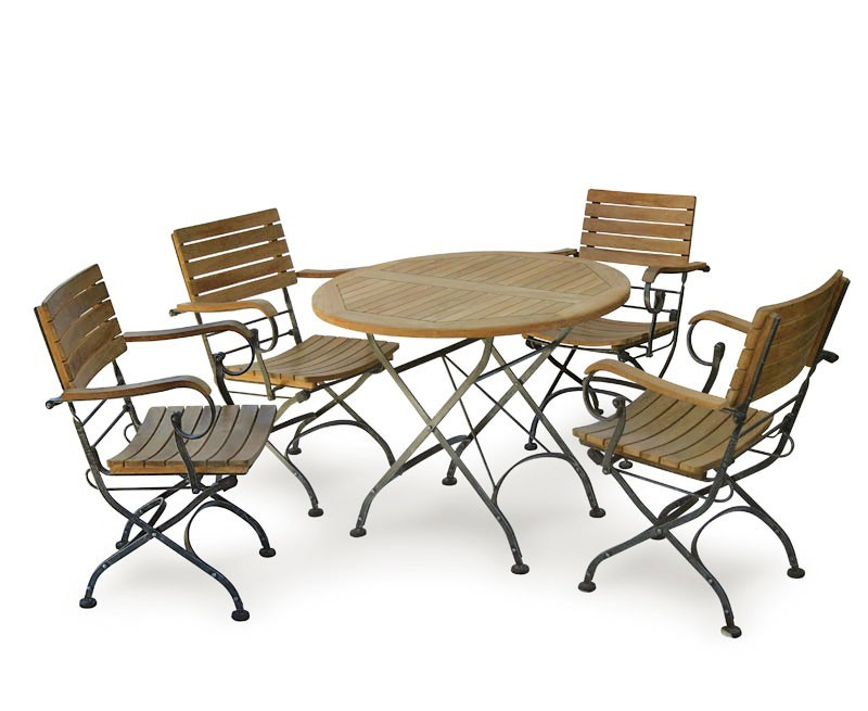 Garden round bistro table and 4 arm chairs for Small patio table and 4 chairs