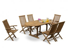 Brompton Outdoor Extending Garden Table and 6 Chairs - Patio Extendable Dining Set - Oval Table
