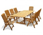 Dorchester Teak Extending Dining Set with 8 Bali Recliner Chairs