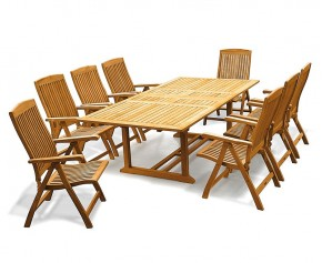 Dorchester Teak Extending Dining Set with 8 Bali Recliner Chairs - Large Dining Sets