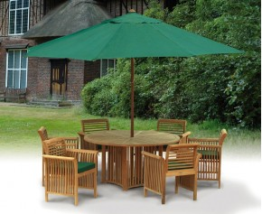 Aero Round Garden Table and 6 Chairs Set - Dining Sets