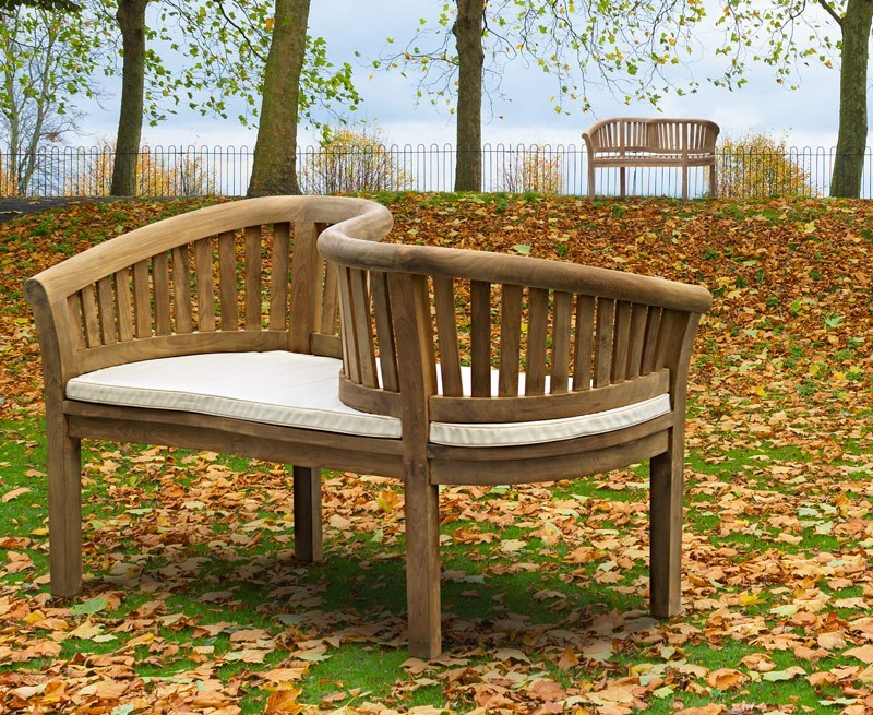 Teak garden love seat love bench for Garden love seat uk