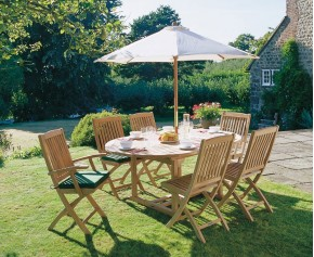 Brompton 6 Seater Extending Garden Table and Folding Chairs - Brompton Dining Set