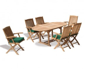 Bijou Garden 6 Seater Extending Dining Set With Folding Chairs - Oval Table