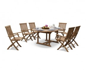 Brompton Deluxe Outdoor 6 Seater Extending Dining Set With Folding Chairs - Brompton Dining Set