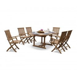 Brompton Deluxe Outdoor 6 Seater Extending Dining Set With Folding Chairs