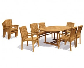 Brompton Extendable Dining Table Set with Bali Stacking Chairs - Stacking Chairs