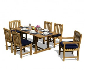 Hilgrove Teak 5ft Garden Dining Table and 6 Clivedon Chairs - 6 Seater Dining Table and Chairs
