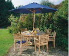 Canfield Outdoor Garden Table and Stacking Chairs Set - Patio Teak Dining Set
