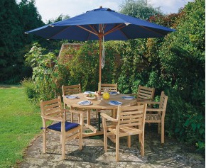 Canfield Teak Garden Table and 6 Stacking Chairs Set - Patio Teak Dining Set - Canfield Dining Sets