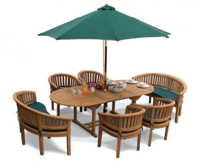 Wimbledon Barcelona Teak Table, Chairs and Benches Set - Wimbledon Dining Set