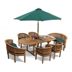 Wimbledon Barcelona Teak Table, Chairs and Benches Set