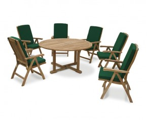 Canfield Round Garden Table and 6 Bali Chairs Set - Reclining Chairs