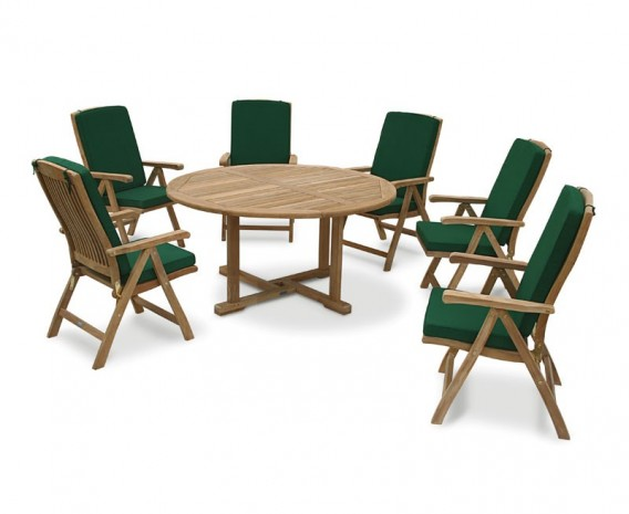 Canfield Round Garden Table and 6 Bali Chairs Set