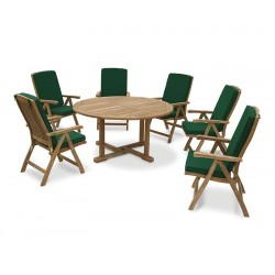 Canfield Round 1.5m Teak Table and 6 Reclining Chairs Set