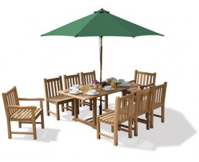 Deluxe Windsor Teak Garden Table and 8 Chairs Set - Hilgrove Dining Set
