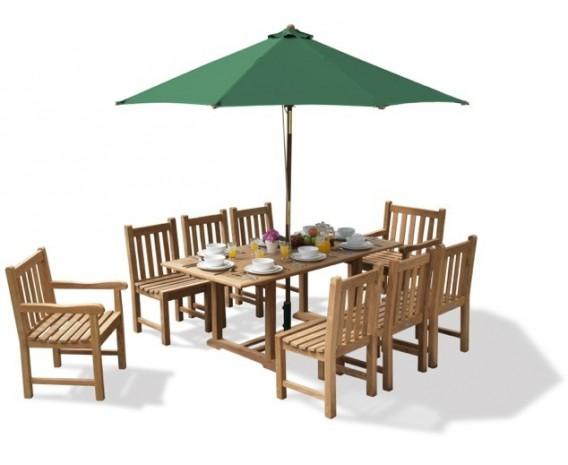 Deluxe Windsor Teak Garden Table and 8 Chairs Set
