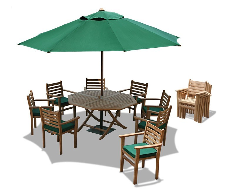 Suffolk Teak 6 Seat Octagonal Folding Table And Stacking