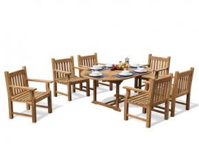 Taverners Teak 6 Seater Garden Table and Armchairs Set - Extending Table
