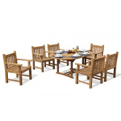 Taverners Teak 6 Seater Garden Table and Armchairs Set