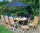 Cheltenham Teak Extending Table and 8 Reclining Chairs Set