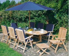 Cheltenham Teak Extending Table and 8 Reclining Chairs Set - Reclining Chairs