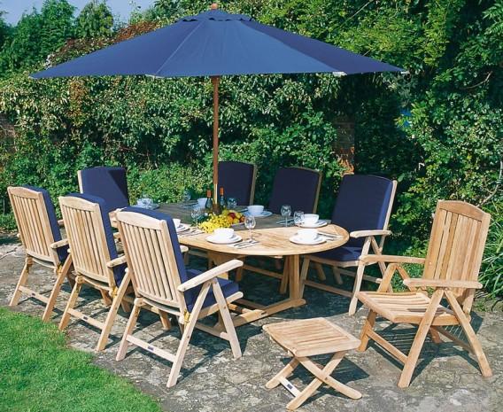 Cheltenham Teak Extending Table and 8 Reclining Chairs Set