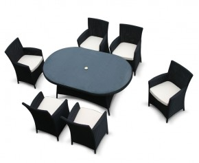 Riviera 6 Seat Loom Black Rattan Dining Set - 2 - Rattan Tables