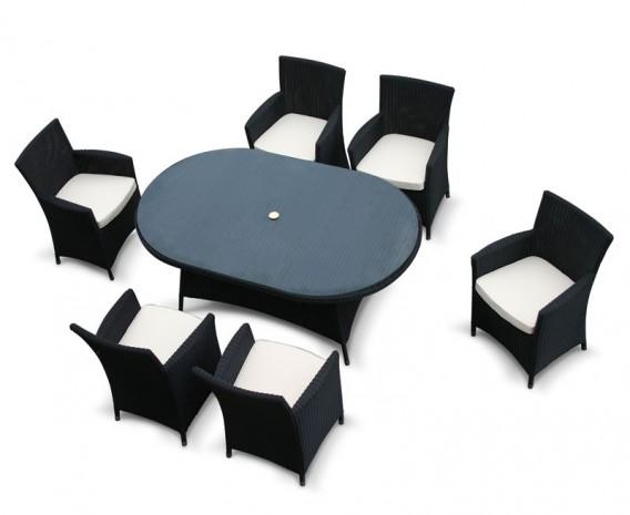 Riviera 6 Seat Loom Black Rattan Dining Set - 2