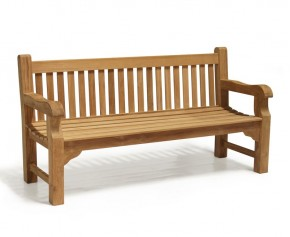 Balmoral Park Bench - 6ft Teak Street Bench - 1.8m - Ready Assembled Benches